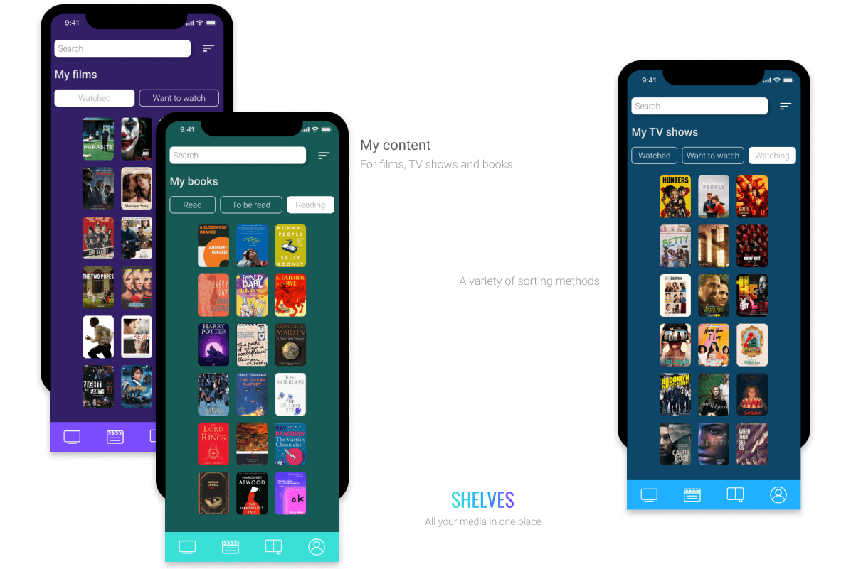 app's screens for user's content