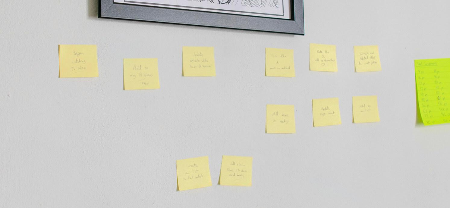 sticky notes with user flow