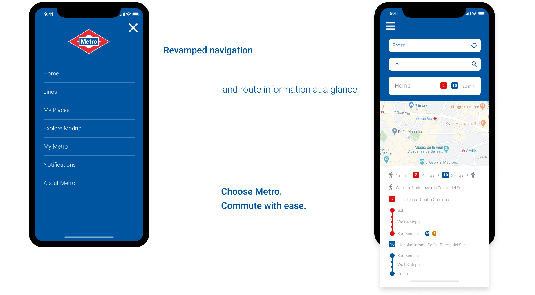redesigned navigation and route screens